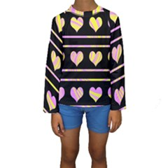 Pink and yellow harts pattern Kids  Long Sleeve Swimwear