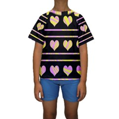 Pink and yellow harts pattern Kids  Short Sleeve Swimwear