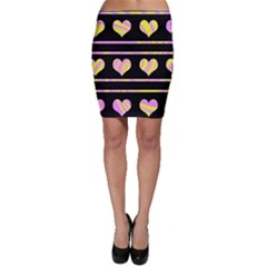 Pink and yellow harts pattern Bodycon Skirt