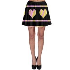 Pink and yellow harts pattern Skater Skirt