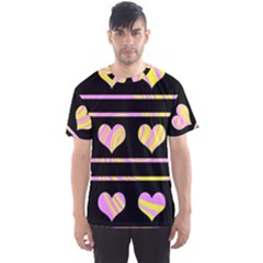 Pink and yellow harts pattern Men s Sport Mesh Tee
