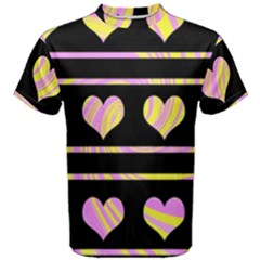 Pink and yellow harts pattern Men s Cotton Tee