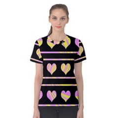 Pink and yellow harts pattern Women s Cotton Tee
