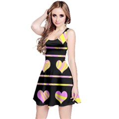 Pink and yellow harts pattern Reversible Sleeveless Dress