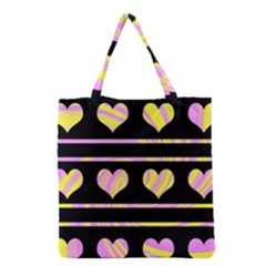 Pink and yellow harts pattern Grocery Tote Bag