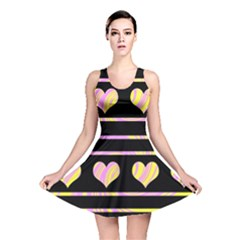Pink and yellow harts pattern Reversible Skater Dress