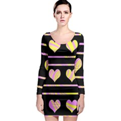 Pink and yellow harts pattern Long Sleeve Bodycon Dress