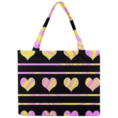 Pink and yellow harts pattern Mini Tote Bag