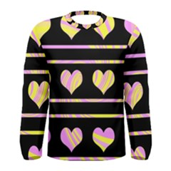 Pink and yellow harts pattern Men s Long Sleeve Tee