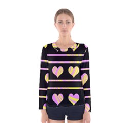 Pink and yellow harts pattern Women s Long Sleeve Tee