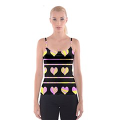 Pink and yellow harts pattern Spaghetti Strap Top