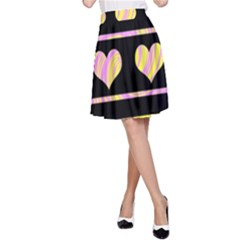 Pink and yellow harts pattern A-Line Skirt