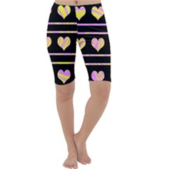Pink and yellow harts pattern Cropped Leggings