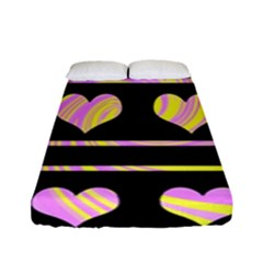 Pink and yellow harts pattern Fitted Sheet (Full/ Double Size)