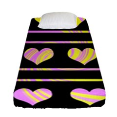 Pink and yellow harts pattern Fitted Sheet (Single Size)