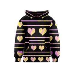 Pink and yellow harts pattern Kids  Pullover Hoodie