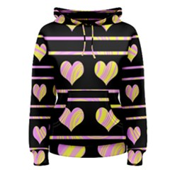 Pink and yellow harts pattern Women s Pullover Hoodie