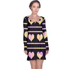 Pink and yellow harts pattern Long Sleeve Nightdress