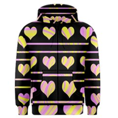 Pink and yellow harts pattern Men s Zipper Hoodie
