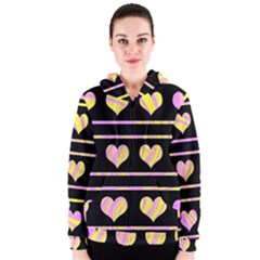 Pink and yellow harts pattern Women s Zipper Hoodie