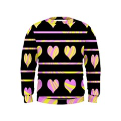 Pink and yellow harts pattern Kids  Sweatshirt