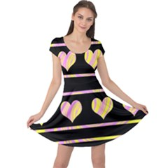 Pink and yellow harts pattern Cap Sleeve Dresses