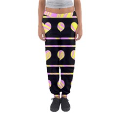 Pink and yellow harts pattern Women s Jogger Sweatpants