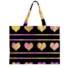 Pink and yellow harts pattern Zipper Mini Tote Bag