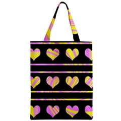 Pink and yellow harts pattern Zipper Classic Tote Bag