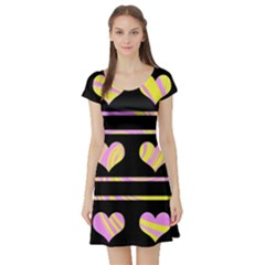 Pink and yellow harts pattern Short Sleeve Skater Dress
