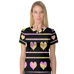 Pink and yellow harts pattern Women s V-Neck Sport Mesh Tee
