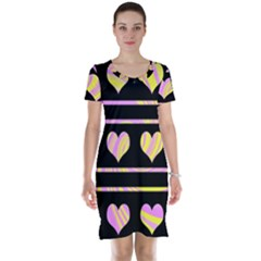 Pink and yellow harts pattern Short Sleeve Nightdress