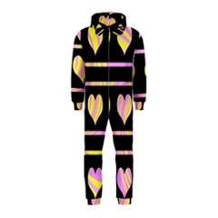 Pink and yellow harts pattern Hooded Jumpsuit (Kids)