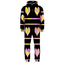 Pink and yellow harts pattern Hooded Jumpsuit (Men)