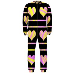 Pink and yellow harts pattern OnePiece Jumpsuit (Men)