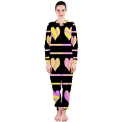 Pink and yellow harts pattern OnePiece Jumpsuit (Ladies)