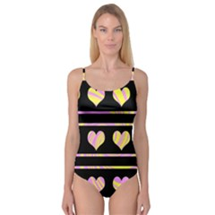 Pink and yellow harts pattern Camisole Leotard