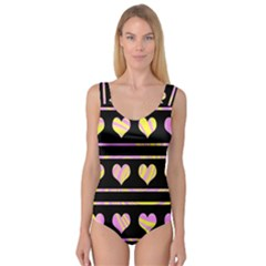 Pink and yellow harts pattern Princess Tank Leotard