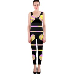 Pink and yellow harts pattern OnePiece Catsuit