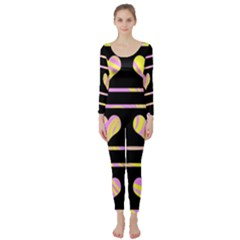 Pink and yellow harts pattern Long Sleeve Catsuit