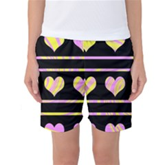 Pink and yellow harts pattern Women s Basketball Shorts