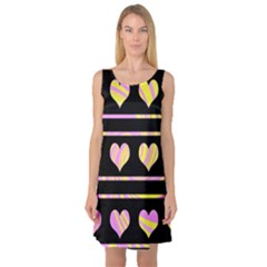 Pink and yellow harts pattern Sleeveless Satin Nightdress