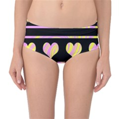 Pink and yellow harts pattern Mid-Waist Bikini Bottoms