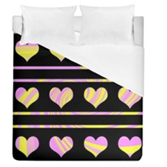 Pink and yellow harts pattern Duvet Cover (Queen Size)