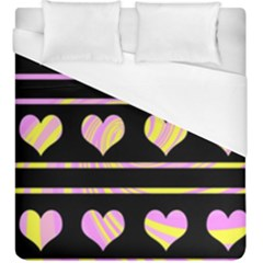 Pink and yellow harts pattern Duvet Cover (King Size)