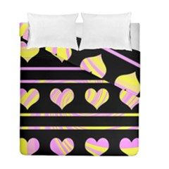 Pink and yellow harts pattern Duvet Cover Double Side (Full/ Double Size)