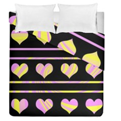 Pink and yellow harts pattern Duvet Cover Double Side (Queen Size)