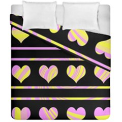 Pink and yellow harts pattern Duvet Cover Double Side (California King Size)