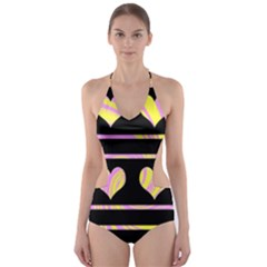 Pink and yellow harts pattern Cut-Out One Piece Swimsuit