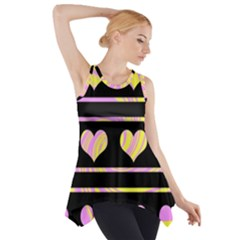 Pink and yellow harts pattern Side Drop Tank Tunic